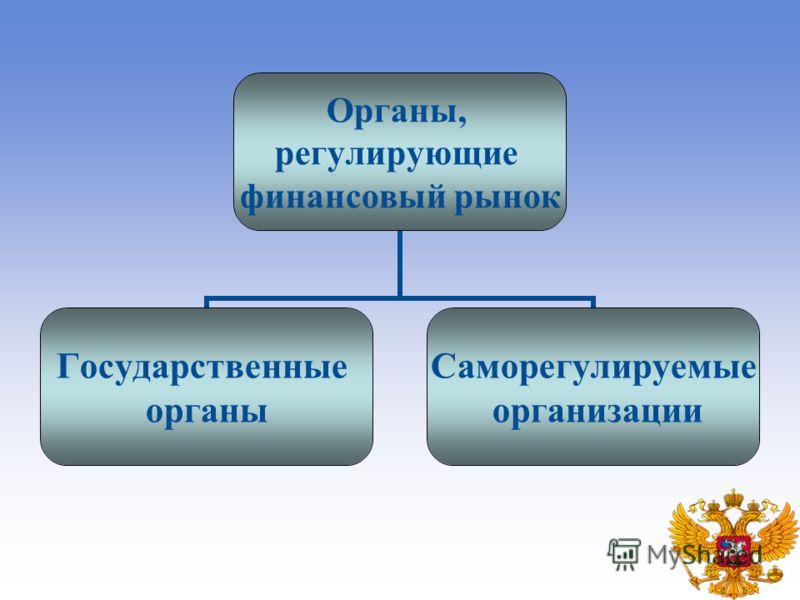 Органы, регулирующие финансовый рынок Государственные органы Саморегулируемые организации
