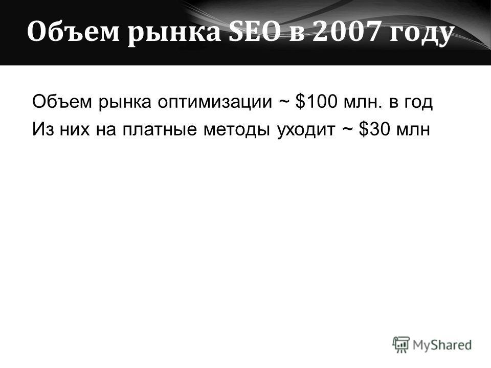 Объем рынка SEO в 2007 году Объем рынка оптимизации ~ $100 млн. в год Из них на платные методы уходит ~ $30 млн