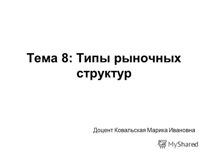 1 Тема 8: Типы рыночных структур Доцент Ковальская Марика Ивановна