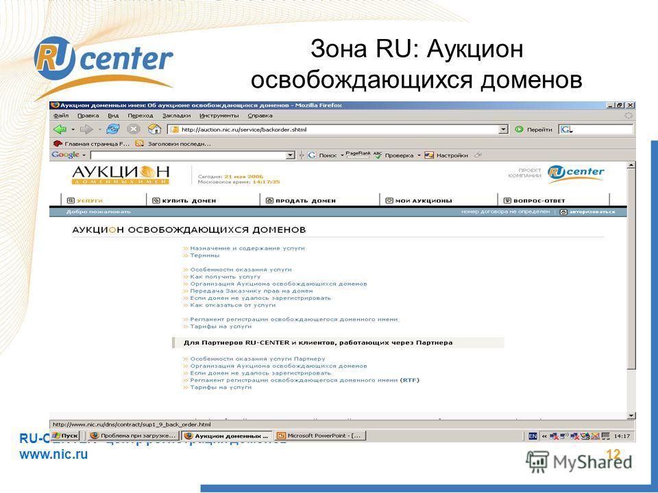 RU-CENTER - центр регистрации доменов www.nic.ru 12 Зона RU: Аукцион освобождающихся доменов