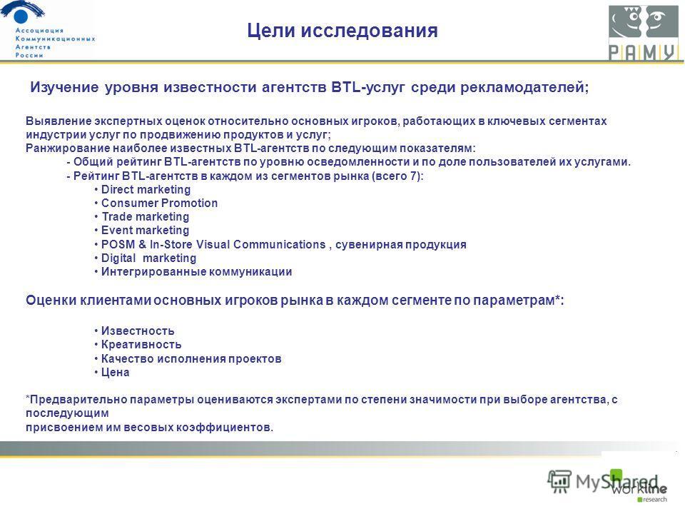 Цели исследования Изучение уровня известности агентств BTL-услуг среди рекламодателей; Выявление экспертных оценок относительно основных игроков, работающих в ключевых сегментах индустрии услуг по продвижению продуктов и услуг; Ранжирование наиболее