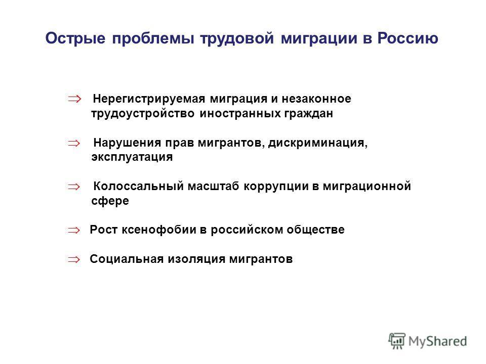 Нерегистрируемая миграция и незаконное трудоустройство иностранных граждан Нарушения прав мигрантов, дискриминация, эксплуатация Колоссальный масштаб коррупции в миграционной сфере Рост ксенофобии в российском обществе Социальная изоляция мигрантов О