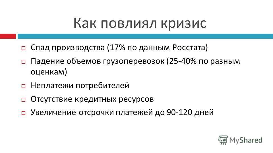 Как повлиял кризис Спад производства (17% по данным Росстата) Падение объемов грузоперевозок (25-40% по разным оценкам) Неплатежи потребителей Отсутствие кредитных ресурсов Увеличение отсрочки платежей до 90-120 дней