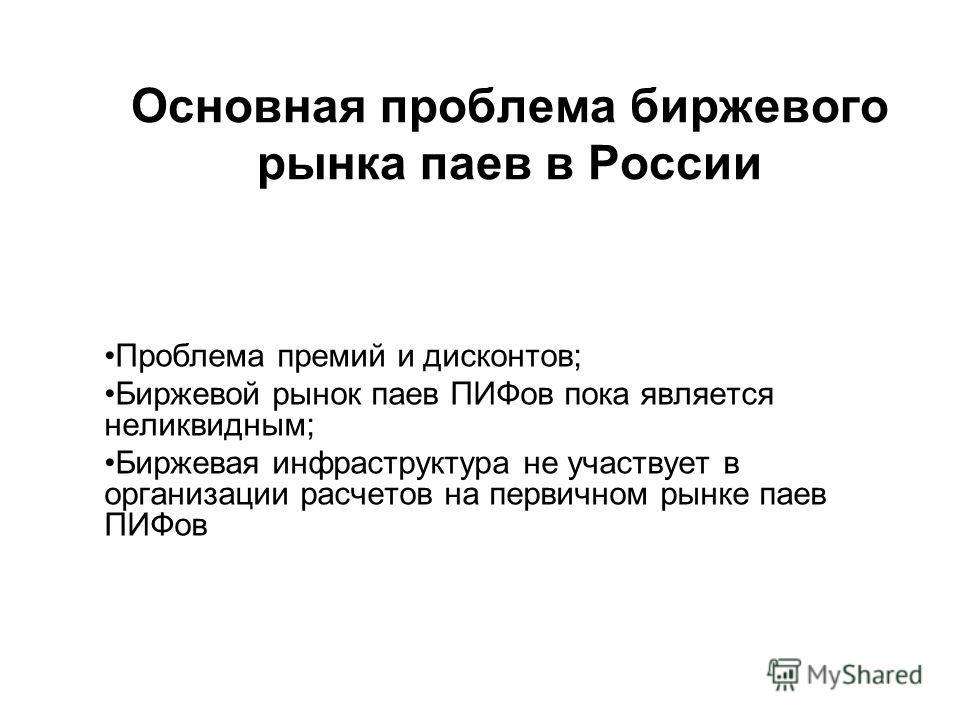 Основная проблема биржевого рынка паев в России Проблема премий и дисконтов; Биржевой рынок паев ПИФов пока является неликвидным; Биржевая инфраструктура не участвует в организации расчетов на первичном рынке паев ПИФов