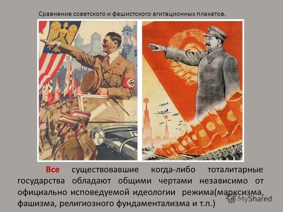 Все существовавшие когда-либо тоталитарные государства обладают общими чертами независимо от официально исповедуемой идеологии режима(марксизма, фашизма, религиозного фундаментализма и т.п.) Сравнение советского и фашистского агитационных плакатов.