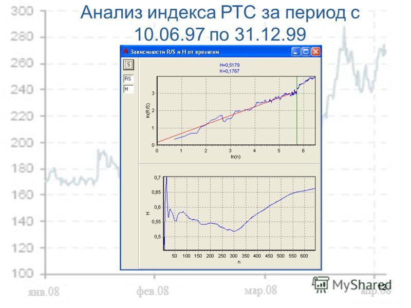 12 Анализ индекса РТС за период с 10.06.97 по 31.12.99