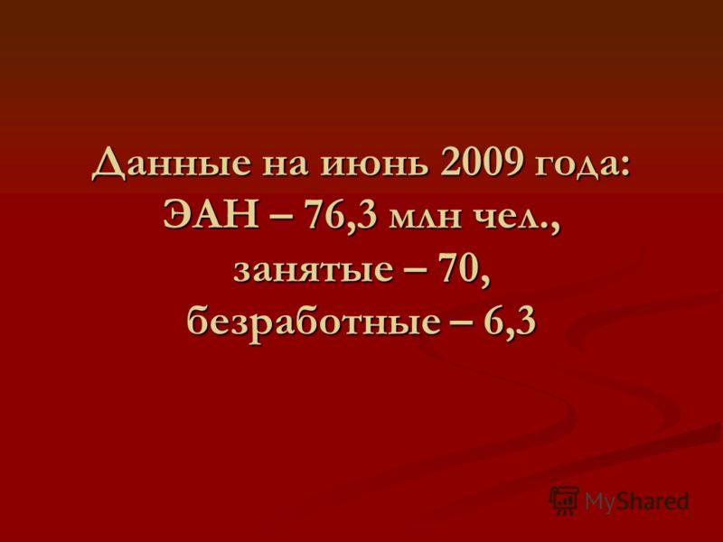 Данные на июнь 2009 года: ЭАН – 76,3 млн чел., занятые – 70, безработные – 6,3
