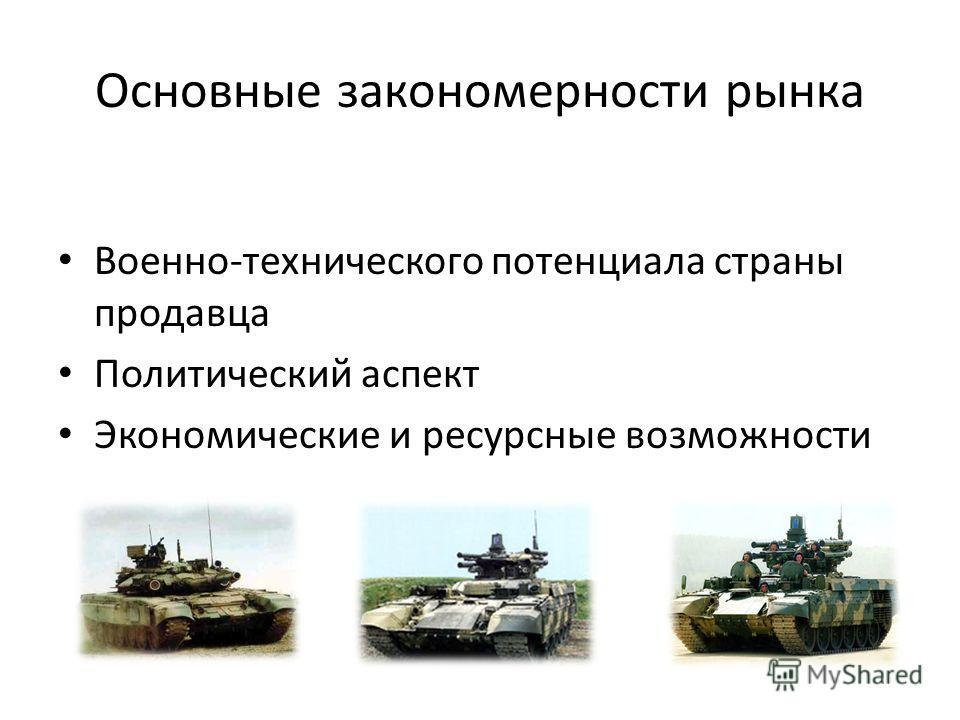 Основные закономерности рынка Военно-технического потенциала страны продавца Политический аспект Экономические и ресурсные возможности