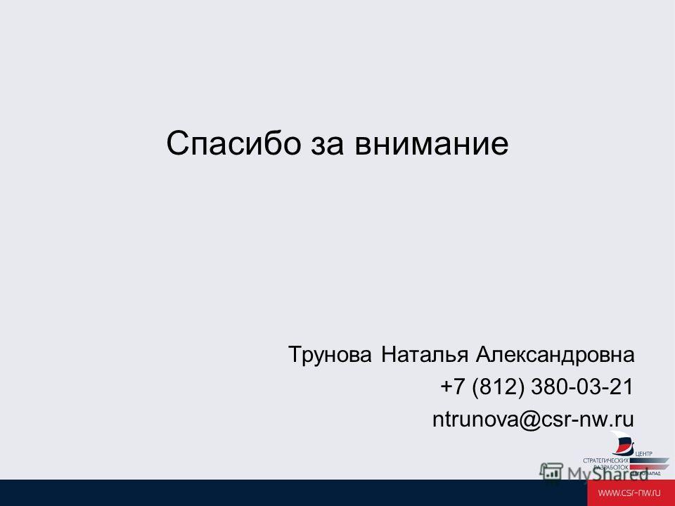 Спасибо за внимание Трунова Наталья Александровна +7 (812) 380-03-21 ntrunova@csr-nw.ru