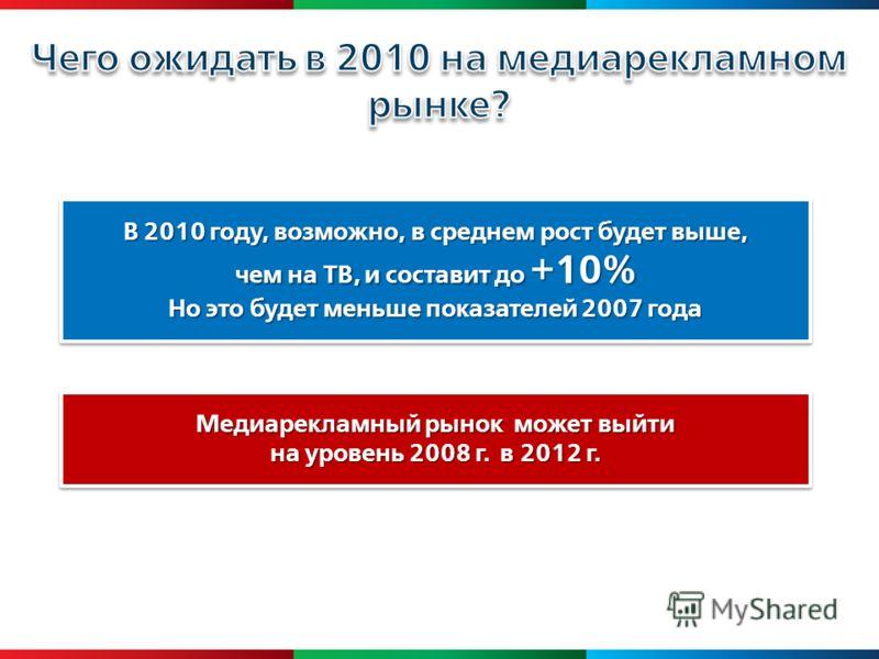 Медиарекламный рынок может выйти на уровень 2008 г. в 2012 г. Медиарекламный рынок может выйти на уровень 2008 г. в 2012 г. В 2010 году, возможно, в среднем рост будет выше, чем на ТВ, и составит до +10% Но это будет меньше показателей 2007 года В 20