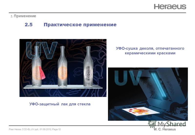 Peer Hesse, CCD-EL,UV.ppt., 01.09.2012, Page 12 2.5 Практическое применение 2. Применение УФО-сушка деколя, отпечатанного керамическими красками УФО-защитный лак для стекла