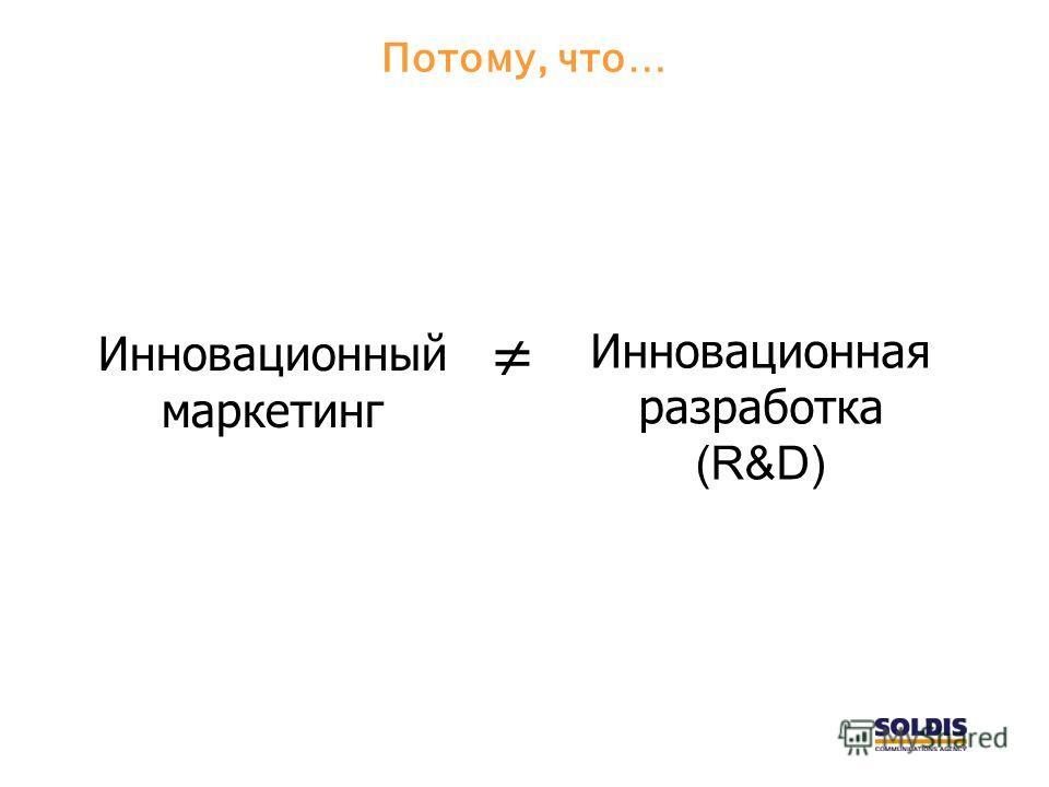 Потому, что… Инновационный маркетинг Инновационная разработка (R&D)