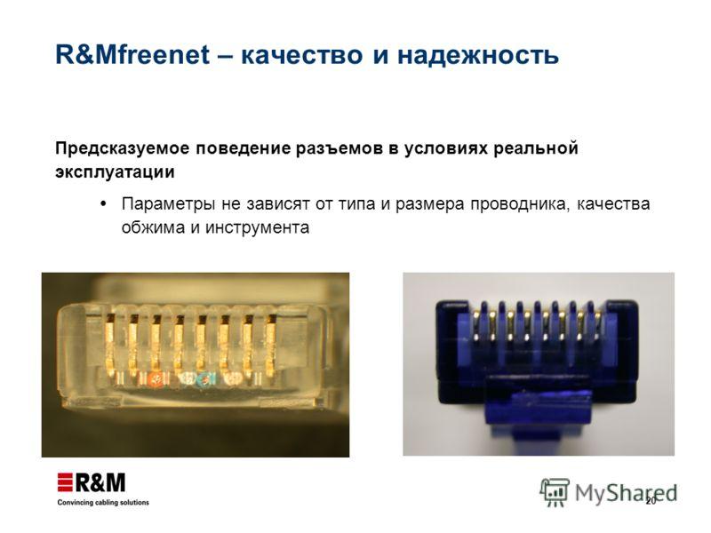 20 R&Mfreenet – качество и надежность Предсказуемое поведение разъемов в условиях реальной эксплуатации Параметры не зависят от типа и размера проводника, качества обжима и инструмента
