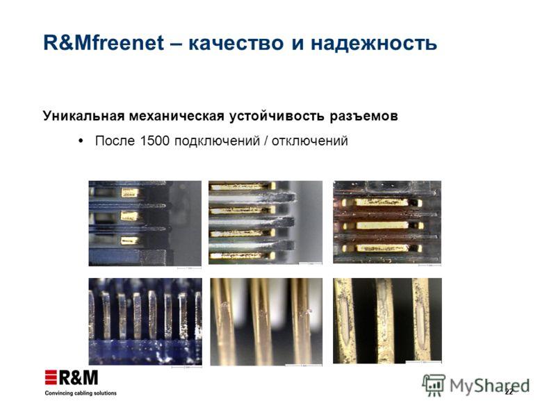 22 R&Mfreenet – качество и надежность Уникальная механическая устойчивость разъемов После 1500 подключений / отключений