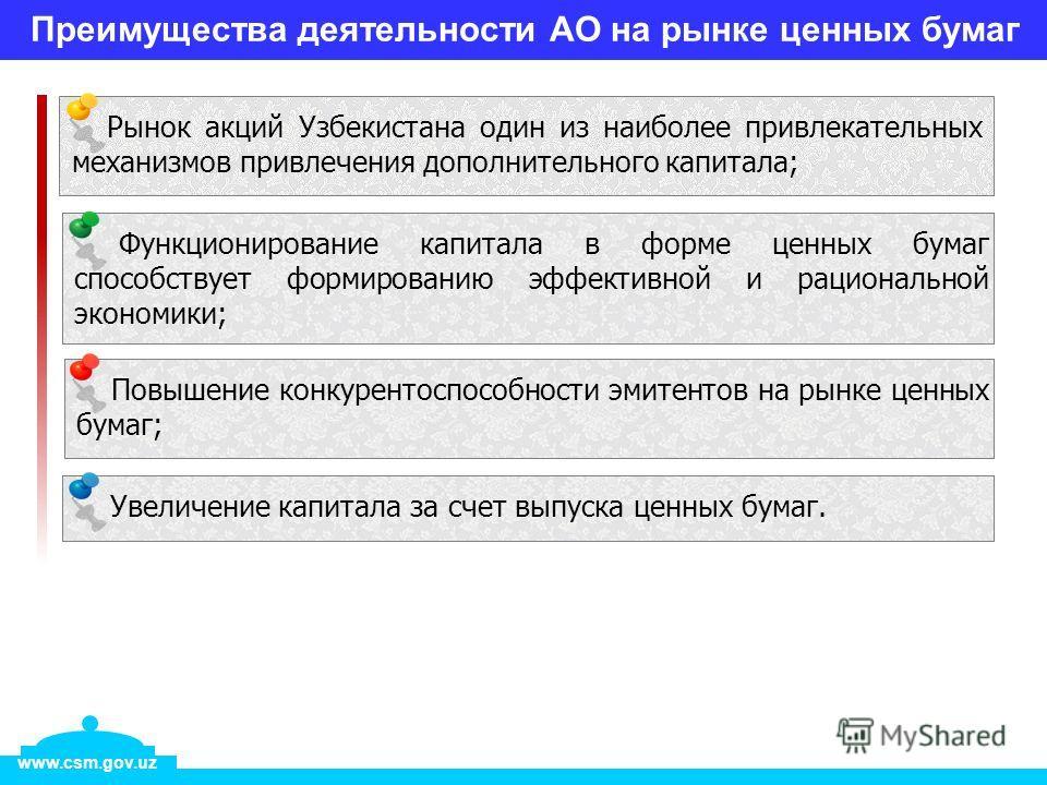 Преимущества деятельности АО на рынке ценных бумаг Увеличение капитала за счет выпуска ценных бумаг. www.csm.gov.uz Рынок акций Узбекистана один из наиболее привлекательных механизмов привлечения дополнительного капитала; Функционирование капитала в