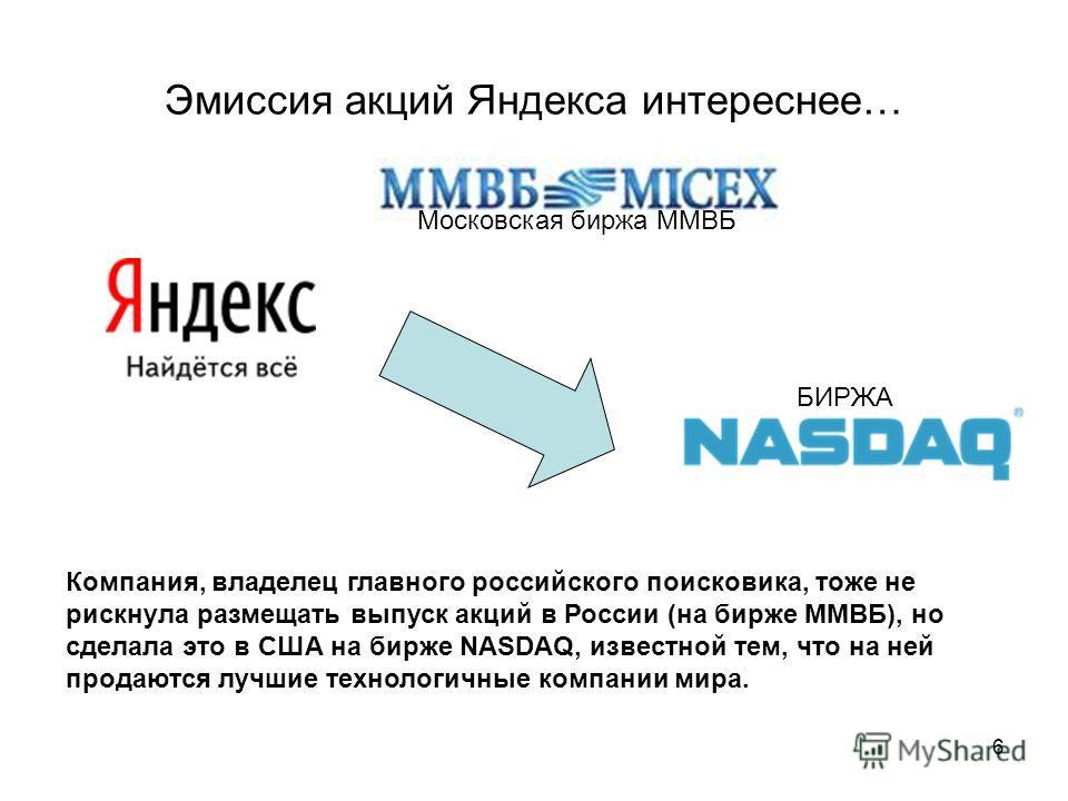 6 Эмиссия акций Яндекса интереснее… Московская биржа ММВБ Компания, владелец главного российского поисковика, тоже не рискнула размещать выпуск акций в России (на бирже ММВБ), но сделала это в США на бирже NASDAQ, известной тем, что на ней продаются