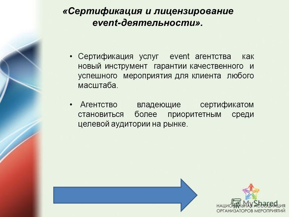 «Сертификация и лицензирование event-деятельности»