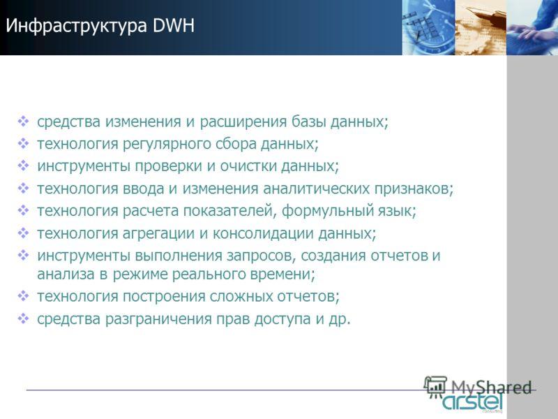 Инфраструктура DWH средства изменения и расширения базы данных; технология регулярного сбора данных; инструменты проверки и очистки данных; технология ввода и изменения аналитических признаков; технология расчета показателей, формульный язык; техноло