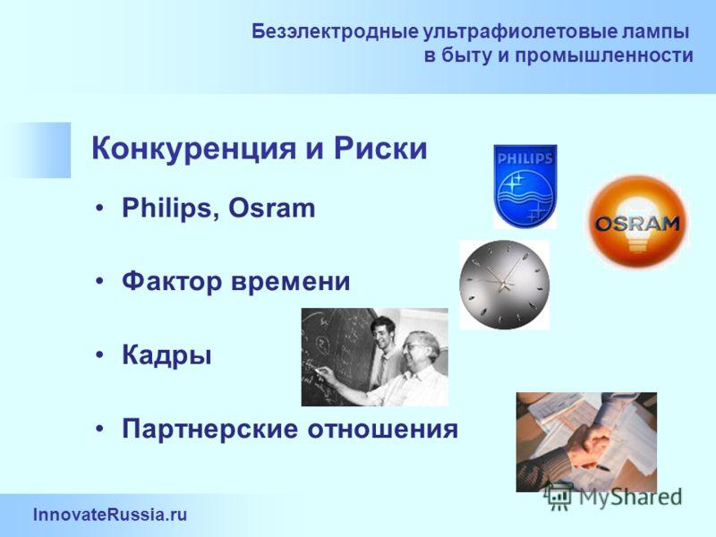 InnovateRussia.ru Безэлектродные ультрафиолетовые лампы в быту и промышленности Конкуренция и Риски Philips, Osram Фактор времени Кадры Партнерские отношения