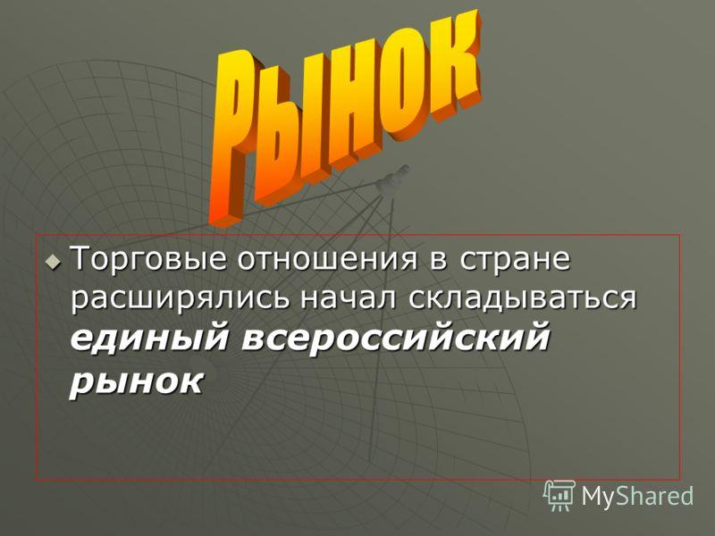 Торговые отношения в стране расширялись начал складываться единый всероссийский рынок Торговые отношения в стране расширялись начал складываться единый всероссийский рынок