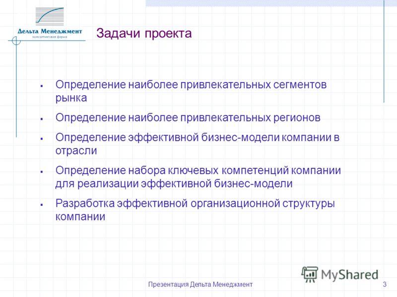 Презентация Дельта Менеджмент 3 Задачи проекта Определение наиболее привлекательных сегментов рынка Определение наиболее привлекательных регионов Определение эффективной бизнес-модели компании в отрасли Определение набора ключевых компетенций компани