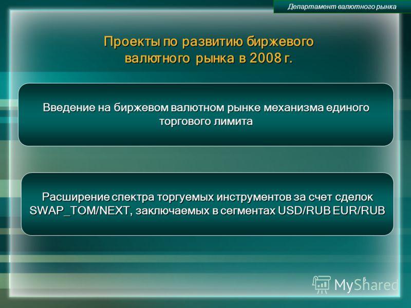5 Проекты по развитию биржевого валютного рынка в 2008 г. Департамент валютного рынка Введение на биржевом валютном рынке механизма единого торгового лимита Расширение спектра торгуемых инструментов за счет сделок SWAP_TOM/NEXT, заключаемых в сегмент