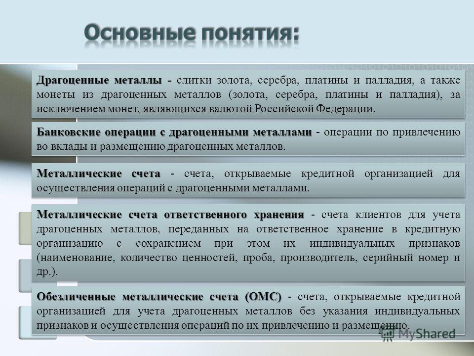 Драгоценные металлы - Драгоценные металлы - слитки золота, серебра, платины и палладия, а также монеты из драгоценных металлов (золота, серебра, платины и палладия), за исключением монет, являющихся валютой Российской Федерации. Банковские операции с