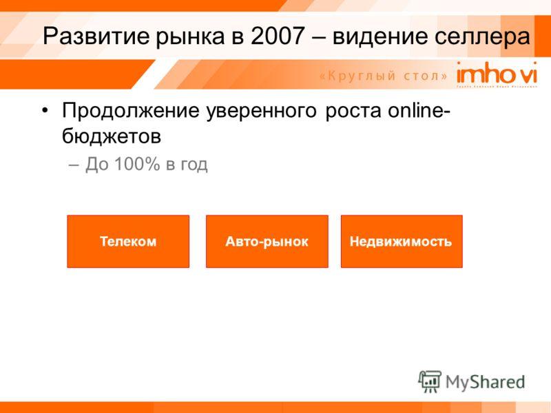 Развитие рынка в 2007 – видение селлера Продолжение уверенного роста online- бюджетов –До 100% в год ТелекомАвто-рынокНедвижимость