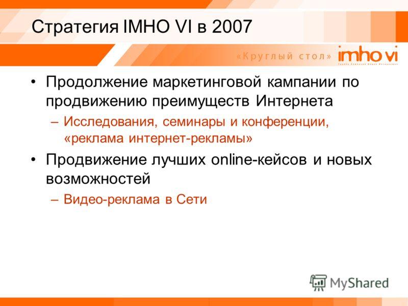 Стратегия IMHO VI в 2007 Продолжение маркетинговой кампании по продвижению преимуществ Интернета –Исследования, семинары и конференции, «реклама интернет-рекламы» Продвижение лучших online-кейсов и новых возможностей –Видео-реклама в Сети