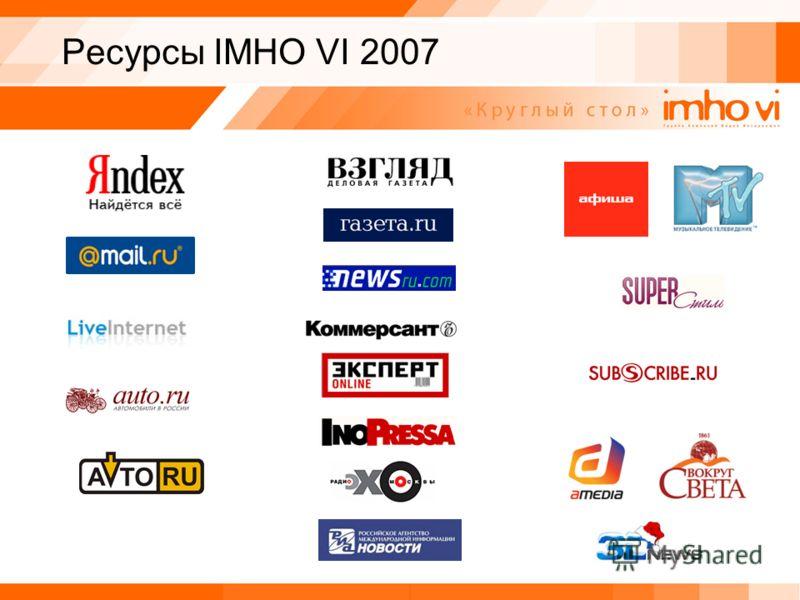 Ресурсы IMHO VI 2007