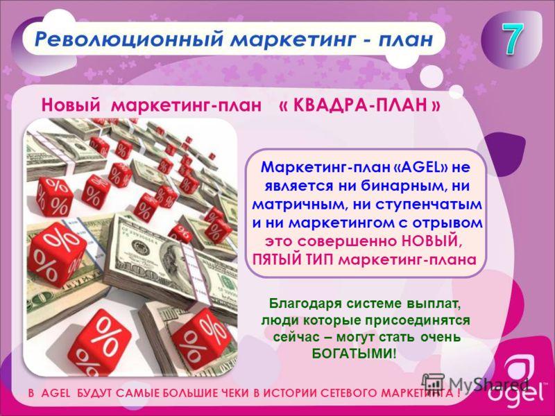 Маркетинг-план «AGEL» не является ни бинарным, ни матричным, ни ступенчатым и ни маркетингом с отрывом это совершенно НОВЫЙ, ПЯТЫЙ ТИП маркетинг-плана Благодаря системе выплат, люди которые присоединятся сейчас – могут стать очень БОГАТЫМИ! В AGEL БУ