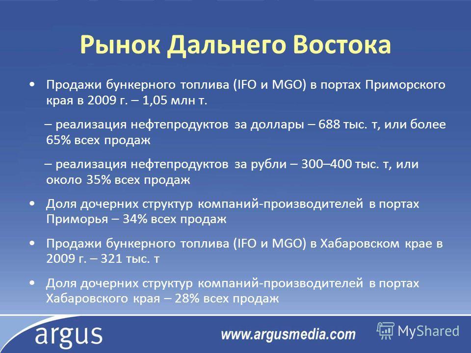 Рынок Дальнего Востока Продажи бункерного топлива (IFO и MGO) в портах Приморского края в 2009 г. – 1,05 млн т. – реализация нефтепродуктов за доллары – 688 тыс. т, или более 65% всех продаж – реализация нефтепродуктов за рубли – 300–400 тыс. т, или