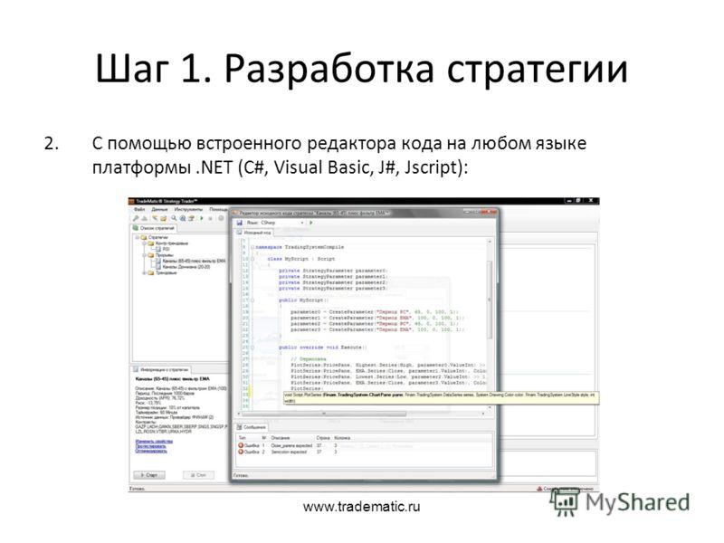 www.tradematic.ru Шаг 1. Разработка стратегии 2.С помощью встроенного редактора кода на любом языке платформы.NET (C#, Visual Basic, J#, Jscript):