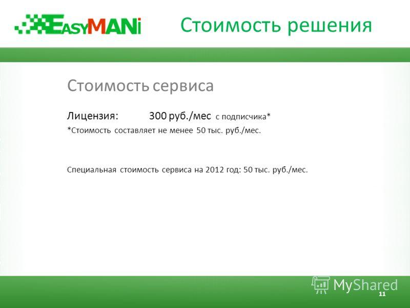 Стоимость решения Стоимость сервиса Лицензия: 300 руб./мес с подписчика* *Стоимость составляет не менее 50 тыс. руб./мес. Специальная стоимость сервиса на 2012 год: 50 тыс. руб./мес. 11
