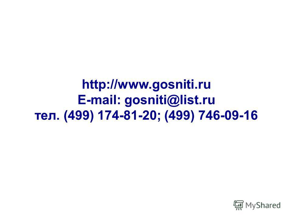 http://www.gosniti.ru E-mail: gosniti@list.ru тел. (499) 174-81-20; (499) 746-09-16