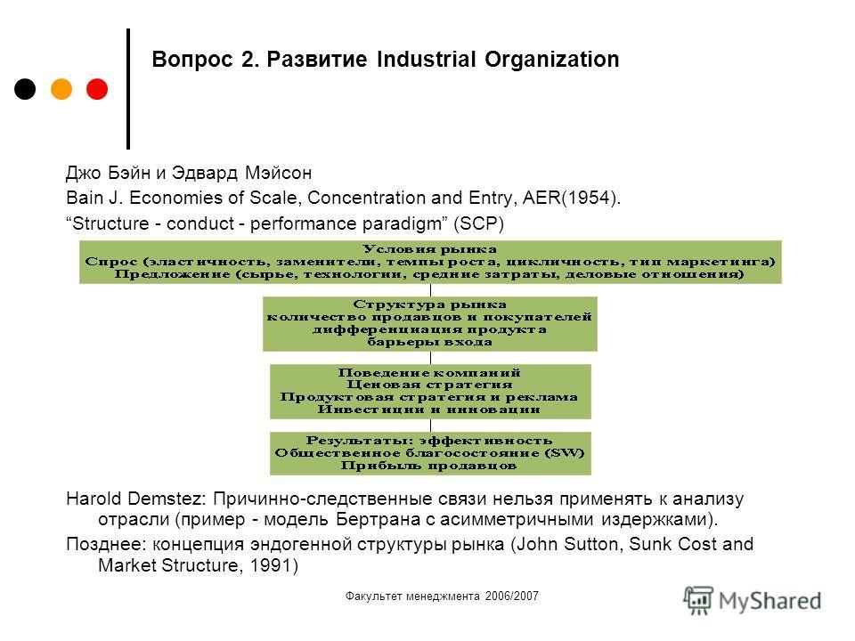 Факультет менеджмента 2006/2007 Вопрос 2. Развитие Industrial Organization Джо Бэйн и Эдвард Мэйсон Bain J. Economies of Scale, Concentration and Entry, AER(1954). Structure - conduct - performance paradigm (SCP) Harold Demstez: Причинно-следственные