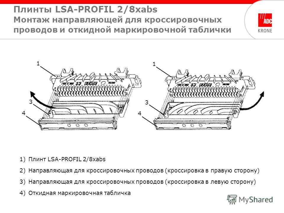 1)Плинт LSA-PROFIL 2/8xabs 2)Направляющая для кроссировочных проводов (кроссировка в правую сторону) 3)Направляющая для кроссировочных проводов (кроссировка в левую сторону) 4)Откидная маркировочная табличка 4 1 3 4 1 3 Плинты LSA-PROFIL 2/8xabs Монт