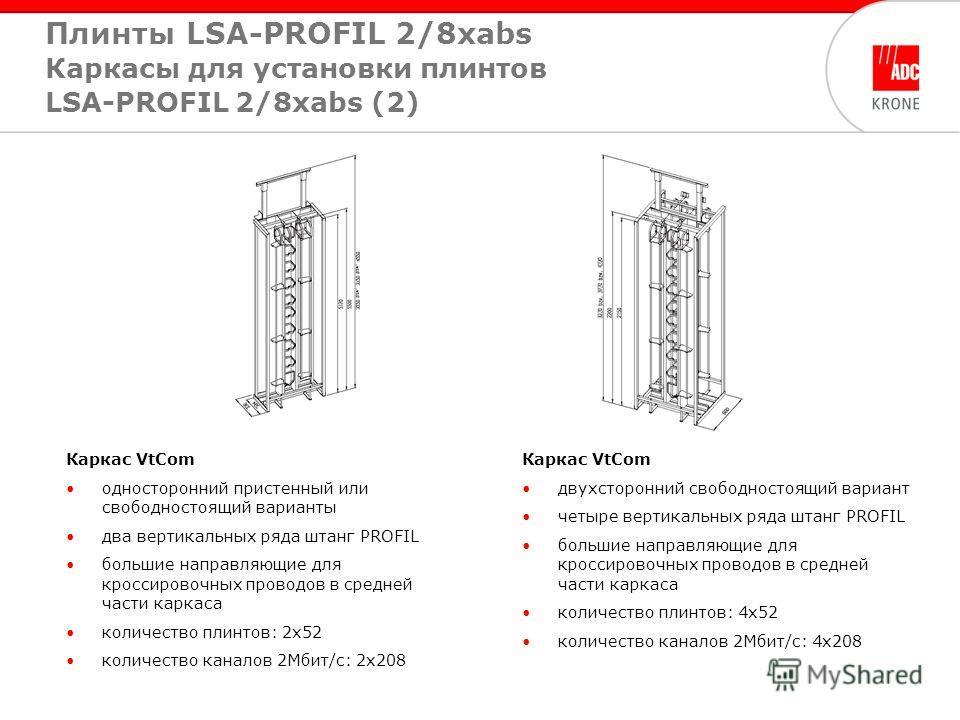Каркас VtCom односторонний пристенный или свободностоящий варианты два вертикальных ряда штанг PROFIL большие направляющие для кроссировочных проводов в средней части каркаса количество плинтов: 2х52 количество каналов 2Мбит/с: 2х208 Каркас VtCom дву