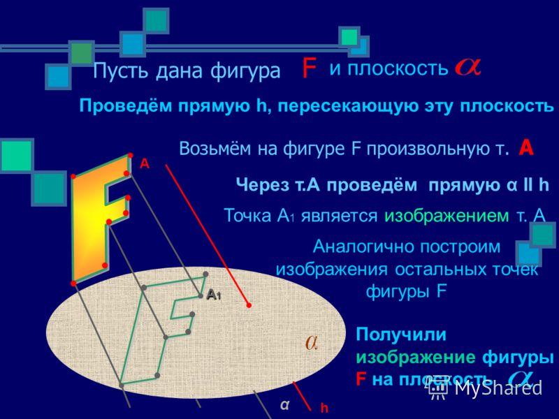 Пусть дана фигура F Возьмём на фигуре F произвольную т. А Через т.А проведём прямую α ІІ h Точка А 1 является изображением т. А Аналогично построим изображения остальных точек фигуры F и плоскость Проведём прямую h, пересекающую эту плоскость Получил