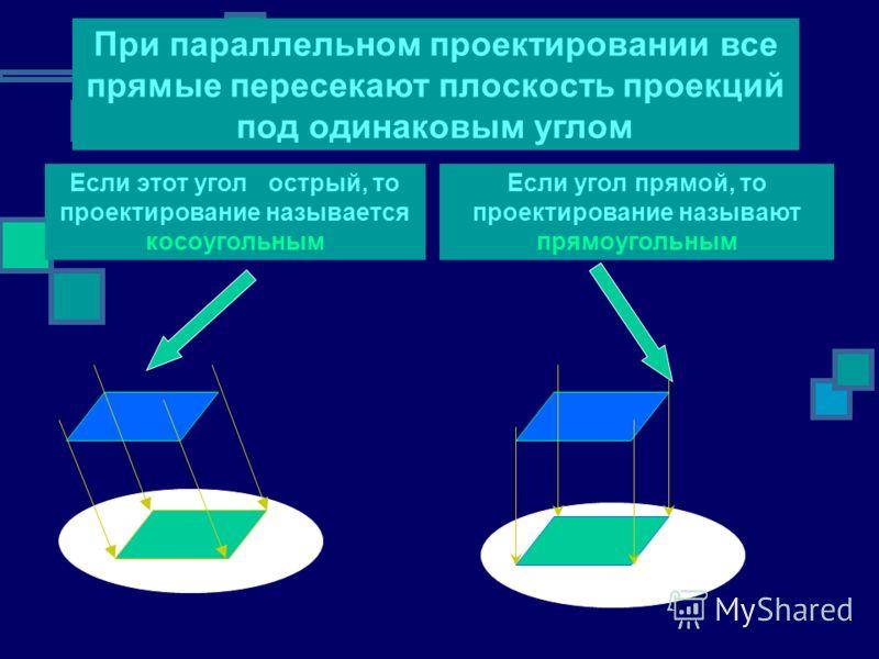 Если этот угол острый, то проектирование называется косоугольным При параллельном проектировании все прямые пересекают плоскость проекций под одинаковым углом Если угол прямой, то проектирование называют прямоугольным