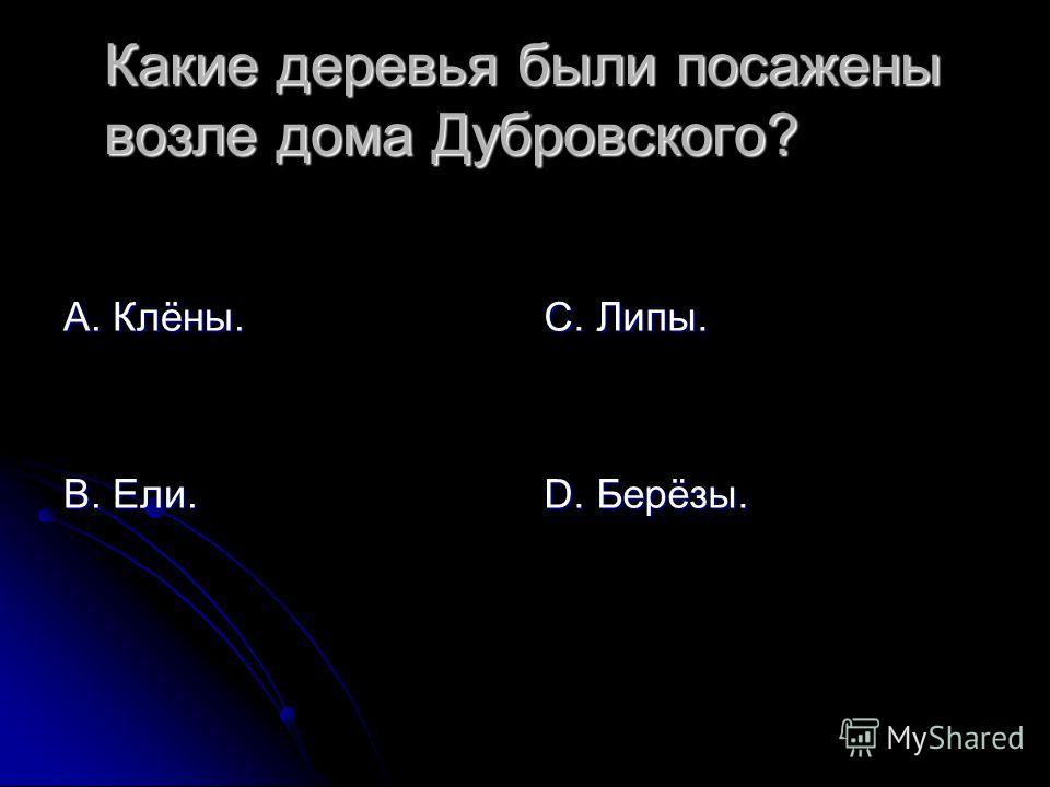 Какие деревья были посажены возле дома Дубровского? А. Клёны. В. Ели. С. Липы. D. Берёзы.