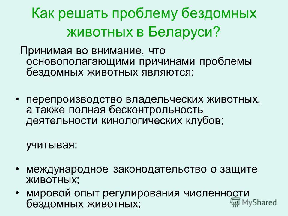 Как решать проблему бездомных животных в Беларуси? Принимая во внимание, что основополагающими причинами проблемы бездомных животных являются: перепроизводство владельческих животных, а также полная бесконтрольность деятельности кинологических клубов