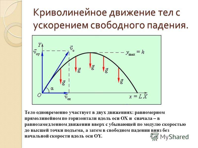 Криволинейное движение тел с ускорением свободного падения. Тело одновременно участвует в двух движениях: равномерном прямолинейном по горизонтали вдоль оси ОХ и сначала – в равнозамедленном движении вверх с убывающей по модулю скоростью до высшей то