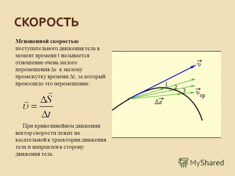 СКОРОСТЬ Мгновенной скоростью поступательного движения тела в момент времени t называется отношение очень малого перемещения Δs к малому промежутку времени Δt, за который произошло это перемещение: При криволинейном движении вектор скорости лежит на