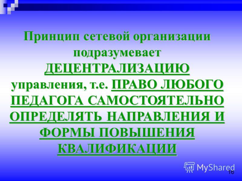 Принцип сетевой организации подразумевает ДЕЦЕНТРАЛИЗАЦИЮ управления, т.е. ПРАВО ЛЮБОГО ПЕДАГОГА САМОСТОЯТЕЛЬНО ОПРЕДЕЛЯТЬ НАПРАВЛЕНИЯ И ФОРМЫ ПОВЫШЕНИЯ КВАЛИФИКАЦИИ 16