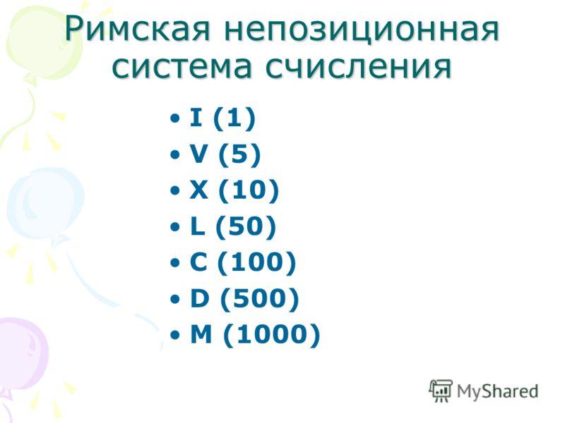 Римская непозиционная система счисления I (1) V (5) X (10) L (50) C (100) D (500) M (1000)