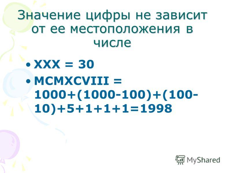 Значение цифры не зависит от ее местоположения в числе XXX = 30 MCMXCVIII = 1000+(1000-100)+(100- 10)+5+1+1+1=1998