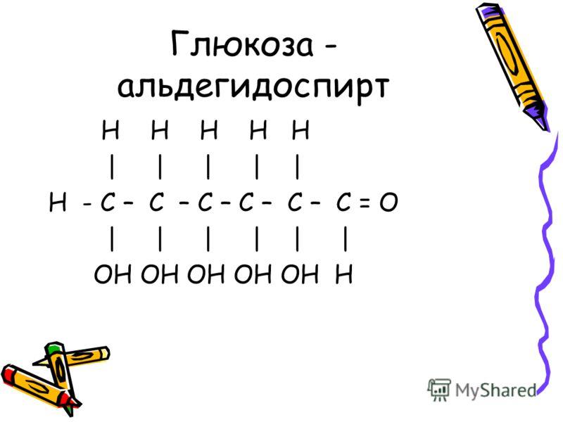 Глюкоза - альдегидоспирт H H H H H | | | | | H - С – С – С – С – С – С = O | | | | | | OH OH OH OH OH H