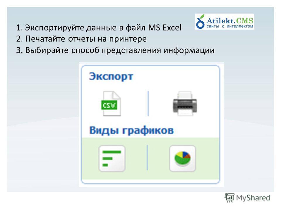 1. Экспортируйте данные в файл MS Excel 2. Печатайте отчеты на принтере 3. Выбирайте способ представления информации