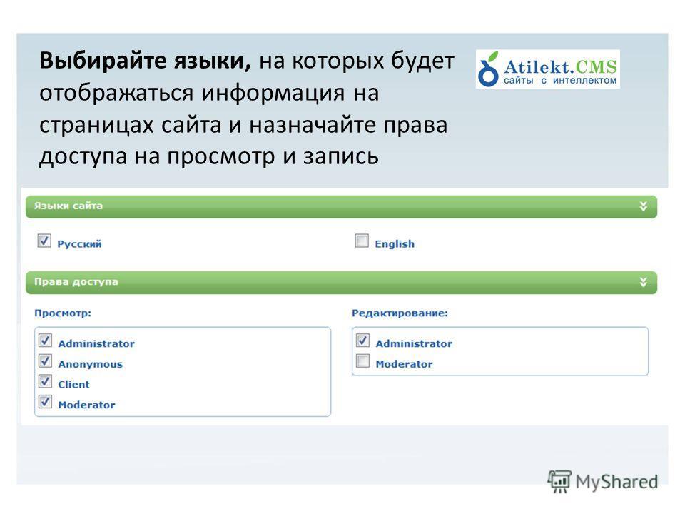 Выбирайте языки, на которых будет отображаться информация на страницах сайта и назначайте права доступа на просмотр и запись